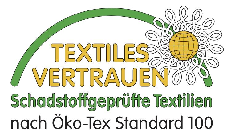 Prüfsiegel Oeko-Tex Standard 100 geprüft auf Schadstoffe